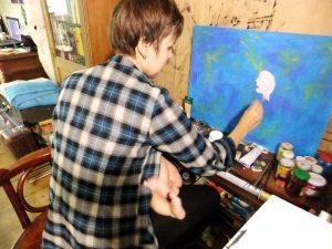 Художник Надя Демкина пишет картину с ребенком | Nadin Piter Надин Питер блог Нади Демкиной