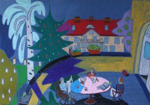 Картина пастель Берлин дача веранда завтрак | Nadin Piter Надин Питер блог Нади Демкиной
