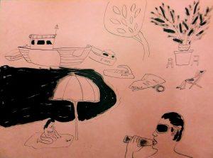 Рисунок скетч пляж море художник Надя Демкина | Nadin Piter Надин Питер блог Нади Демкиной
