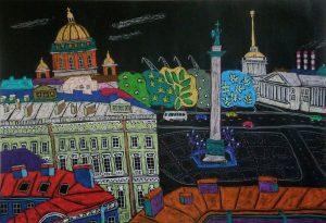 Дворцовая площадь Эрмитаж Петербург картина пастель | Nadin Piter Надин Питер блог Нади Демкиной