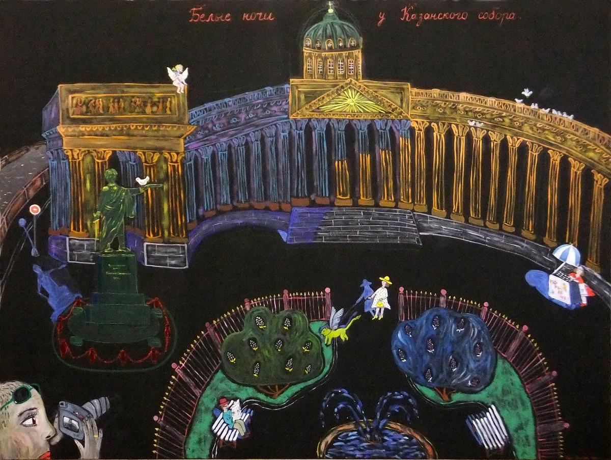 Надя Демкина художник Истории картин Белые ночи у Казанского собора | Nadin Piter Надин Питер блог Нади Демкиной