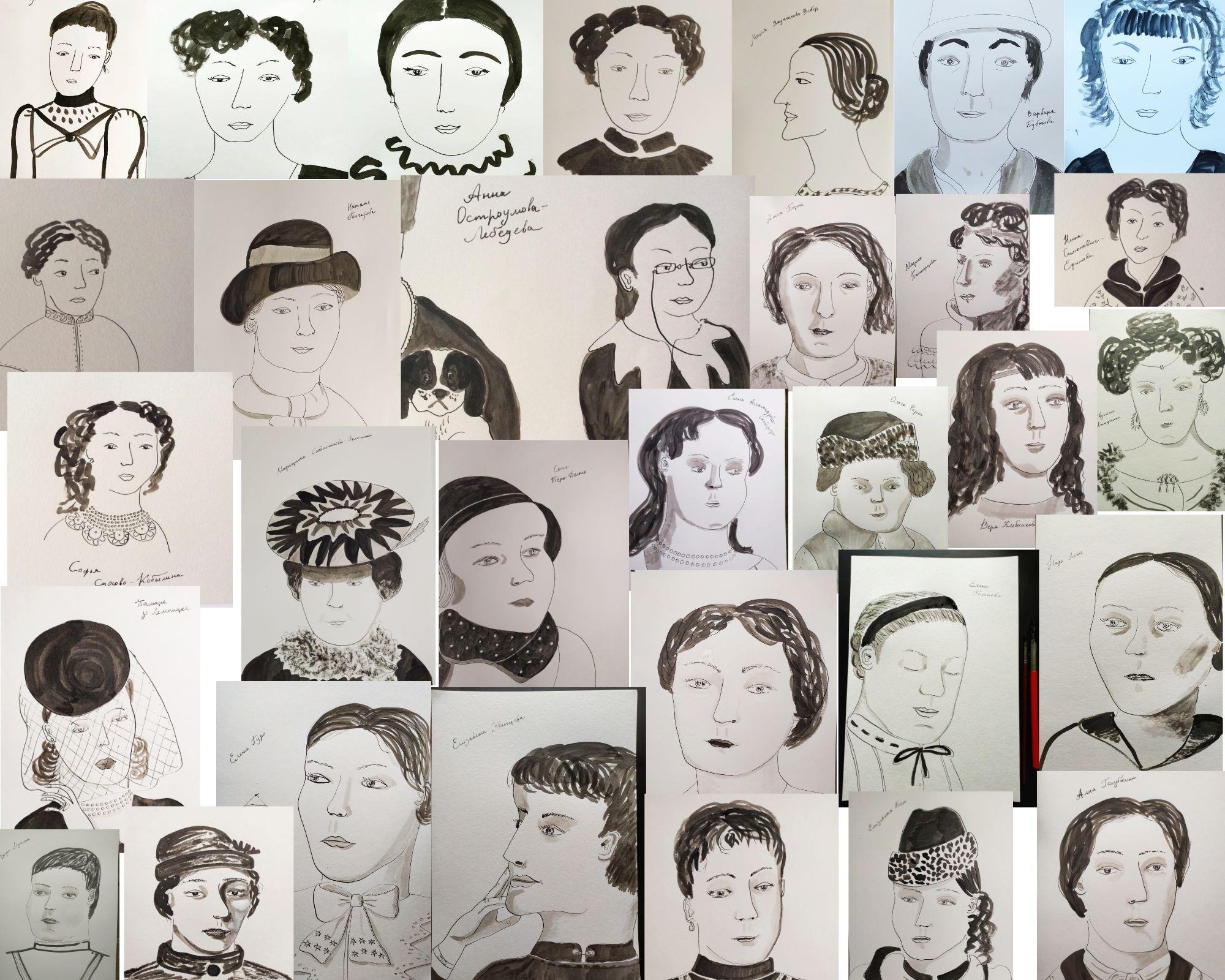 Марафон рисования Инктобер: 31 портрет русских художниц за месяц | Nadin Piter Надин Питер блог Нади Демкиной